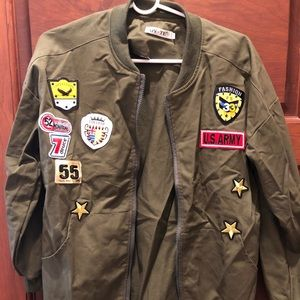 Green Utility Jacket with Patches